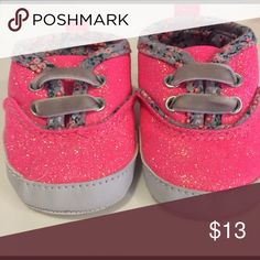 Sparkling pink newborn shoes Newborn Carters sparkling pink shoes with floral detail inside! Carter's Shoes Baby & Walker