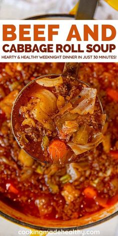 Corned Beef and Cabbage Roll Soup is a hearty and flavorful weeknight dinner. beef weeknight Beef and Cabbage Roll Soup Recipe - Cooking Made Healthy Beef Cabbage Soup, Cabbage Soup Recipes, Easy Soup Recipes, Dinner Recipes, Cooking Recipes, Healthy Recipes, Cabbage Casserole, Cabbage Rolls, Soup And Sandwich