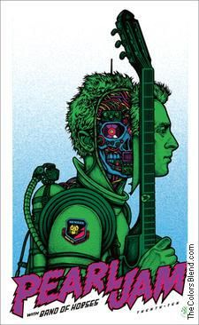 2010 Pearl Jam - Newark Silkscreen Concert Poster by Ames Hippie Rock, Art Hippie, Kunst Poster, Poster S, Tour Posters, Band Posters, Norman Rockwell, Concert Rock, Musik Illustration