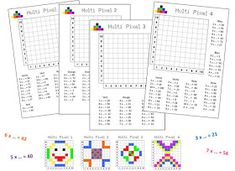 Multi Pixels allows you to manipulate the multiplication tables but also to locate Math 5, Multiplication And Division, Teaching Math, Multiplication Tables, Color By Number Printable, Math Tables, Pix Art, Pixel 4, Cycle 3