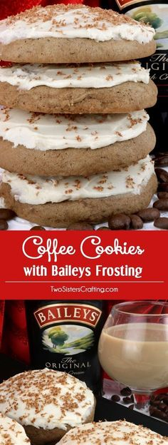 Coffee Cookies with Baileys Frosting - delicious cakey cookies infused with just a hint of coffee and topped with our creamy, Baileys Irish Cream frosting. This Christmas Cookie recipe would be a great Christmas Dessert or Treat, Cookie Exchange recipe or Baileys Irish Cream, Holiday Baking, Christmas Baking, Delicious Desserts, Dessert Recipes, Delicious Cookies, Coffee Cookies, Coffee Dessert, Cookies Et Biscuits