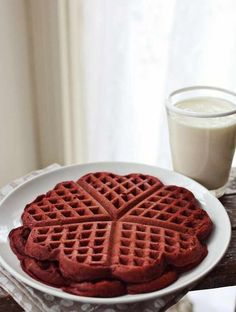 Red velvet heart waffles. Yum!