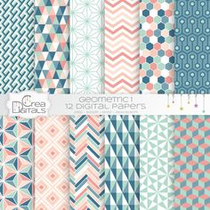 Coral and blue geometrics 12 digital papers INSTANT Papel Scrapbook, Digital Scrapbook Paper, Digital Papers, Wall Paint Colour Combination, Diary Cover Design, Planner Stickers, Sims 4 Cc Furniture, The Sims, Stationery Design