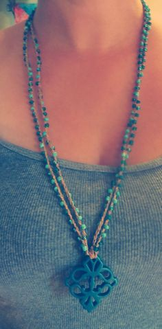 Teal It Up Crochet Necklace by FleasKnees on Etsy, $22.00