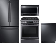 Samsung SARERADWMW825 4 Piece Kitchen Appliances Package with French Door Refrigerator, Gas Range, Dishwasher and Over the Range Microwave in Black Stainless Steel