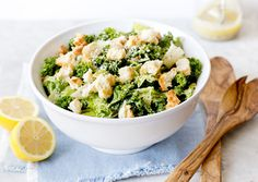 Caesar salad, done right, is a bowl full of contrasts: cool, watery leaves against dry, crunchy croutons; sharp lemon against rich cheese, and biting garlic against soothing egg Most recipes focus on flavor; this one also unlocks the Caesar's secrets of temperature, texture, heat and umami Kale and romaine make an ideal combination of greens, but all romaine or all kale is fine: just stay away from tender, wilting leaves like mesclun and Bibb lettuce