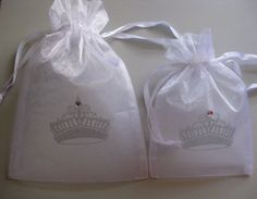 10 White Crown ORGANZA Favor Gift Bags by CuppyCakePartyPrints