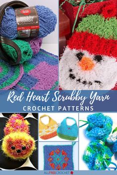 One of the most popular types of yarn from Red Heart is their Scrubby Yarn, which is ideal for dishcloths and similar patterns. But that's not all! That's why we've put together this collection of 20+ Red Heart Scrubby Yarn Crochet Patterns. Red Heart Crochet Patterns, Christmas Crochet Patterns, Crochet Ornaments, Crochet Snowflakes, Crochet Christmas, Dishcloth Knitting Patterns, Crochet Dishcloths, Crochet Yarn, Scrubby Yarn