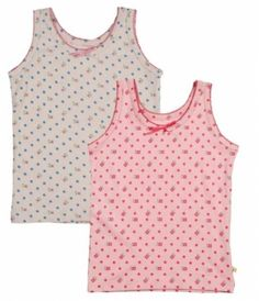 Frugi Αμάνικα Φανελάκια για Κορίτσια με Λουλουδάκια, Σετ των 2 Polka Dot Top, Underwear, Vest, Pairs, Tops, Women, Fashion, Moda, Fashion Styles