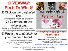 GIVEAWAY - Pin It To Win It: To Win This Item from Aulani Photography... - follow the instructions: Click on ORIGINAL pin, comment leaving a way to contact you, REPIN the ORIGINAL Pin! Contest ends 7/27/12 @ 11:59pm EST. Winner announced 7/29/12. http://www.etsy.com/shop/AulaniPhotography