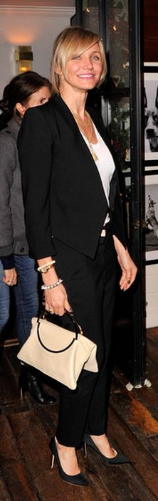 Who made  Cameron Diaz's black blazer, jewelry, black pumps, and watch that she wore in Hollywood on December 11, 2012?