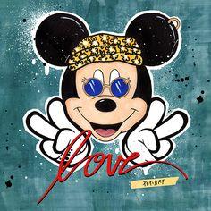 HIPPIE MICKEY - Print // pepiart / shop / art / illustration / kunst / künstler / artist / wohnen / living / kunstdruck / poster / fashion / girl / fashion / good vibes / deko / stylish / edgy / mickey mouse / peace / love / luxus / liebe / frieden / cool / smile / lächeln / streetart / popart / quote