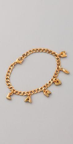 Wgaca Vintage Vintage Lanvin Word Charm Bracelet thestylecure.com