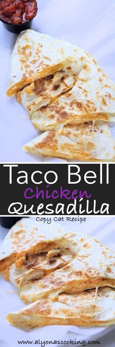 A must try recipe if you crave the Taco Bell Chicken Quesadilla. A homemade Creamy Jalapeño sauce, grilled chicken strips and cheese, are all stuffed into soft tortillas, replicating the fast foods (Taco Bell) version. Taco Bell Quesadilla, Quesadilla Recipes, Chicken Quesadillas, Quesadilla Sauce, Taco Bell Recipes, Mexican Food Recipes, Nachos, Copykat Recipes, Think Food