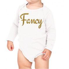 """""""Fancy"""" Glitter Girls Bodysuit - White and Gold"""