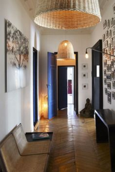 long hallway brown wooden floors love the zig zag lines... http//desiretoinspire.net