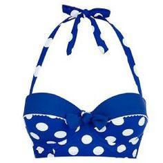 Kelly Brooks Blue Spot Longline Bikini from New Look