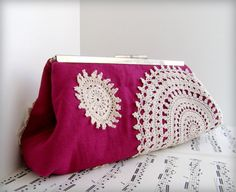 magenta linen clutch purse with vintage doilies