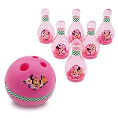 Disney Minnie Mouse Bowling Set   Disney StoreMinnie Mouse Bowling Set - She'll get on a roll with this Minnie Mouse Bowling Set. Six clear pins filled with plastic Mickey icons and a lightweight ball for little bowlers make it a set that's sure to strike their fancy.
