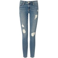 Frame Denim Kitty Hawk Le Skinny De Jeanne Jeans ($350) ❤ liked on Polyvore featuring jeans, pants, bottoms, jeans/pants, trousers, blue, denim skinny jeans, blue jeans, faded skinny jeans and skinny fit jeans