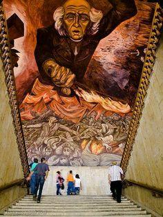Mural de José Clemente Orozco. Palacio de Gobierno.  Guadalajara, Jalisco, México.