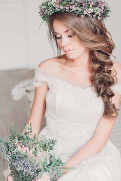 Romantic side braid with flower wedding hair