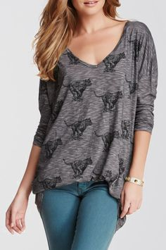#13 ~ Grey Long Sleeve Melange Knit Tee