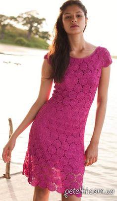 Красивое летнее платье из круглых мотивов. Схемы, МК соединения мотивов