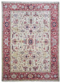 Design Fine Mahal Size 9' X 12'3 Shades Of Color Included: Beige, Pink - Multi-Colored Knot Technique 100% Hand Knotted Rug Foundation Cotton Pile 100% Fine Wool Retail Price $8,000 - $8,500 Condition New! Never Been Used. Number Of Pieces Unique - One Of a Kind Rug Number W-1043 Made In India Dying Material Vegetable