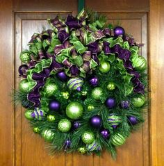 SOLD! Christmas Wreath Purple and Lime Green by SandyNewhartDesigns $169.00