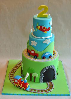 Hope's Sweet Cakes: Frozen and TMNT.along with some other great cakes! 2nd Birthday Party For Boys, Baby Birthday Cakes, Baby Boy Cakes, Cakes For Boys, Transportation Birthday, Cake Pictures, Sweet Cakes, Pretty Cakes, Tiered Cakes