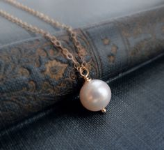 Good accessory or a gift for bridal party or mothers. (Simple pearl necklace Bridesmaid gifts pearl by BriguysGirls)