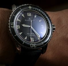 "Blancpain Fifty Fathoms Automatique 5015 Watch Review - See Ariel's review, photo gallery, and video on aBlogtoWatch.com ""Years ago when I first got into timepieces I stumbled upon a previous generation Blancpain Fifty Fathoms watch and fell in love it with.... I now have the pleasure of offering a hands-on review of a deliciously designed Swiss diver with a great design, great character, and matching 'great' price..."""