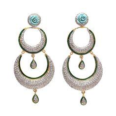 Designer Long double Chandbaali Earrings For more, visit bandbaajaa.com