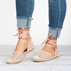 Lace Up Espadrilles - Pink