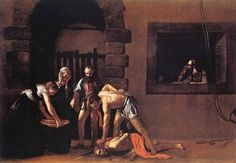 """Caravaggio  Salome with the head of St John the Baptist c. 1607  Oil on canvas, 90,5x167cm  National Gallery,London  1607년 경 카라바조가 그린 """"세례자 요한의 머리를 든 살로메""""에는 강한 대비가 충돌한다. 화면을 지배하는 짙은 어두움과 세례자 요한의 머리와 사형 집행인의 어깨에 떨어지는 눈부신 하이라이트, 세례자 요한의 머리채를 움켜진 사형 집행인의 폭력적인 손아귀, 그 아래 마지막 한숨을 내쉬며 모든 것을 체념한 망자의 힘없는 눈동자, 젊은 살로메의 윤기 흐르는 피부와 늙은 하녀의 주름진 얼굴, 카라바조는 이러한 대비를 통해 세례자 요한의 죽음이라는 사건의 현실감과 극적인 효과를 동시에 재현한다."""