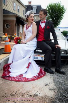 """Our wedding featured a DeLorean, the 1958 Blob (he was our """"witness""""), Vulcans, Mandalorians, Dark Helmet, Jessica Rabbit, and a lot of amazing friends & family #nerd #geek"""