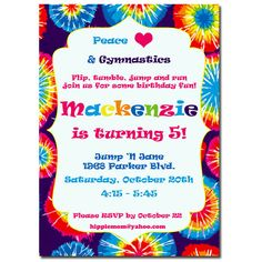 Groovy Tie Dye Happy Birthday Party Invitation
