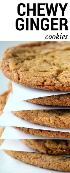 Chewy Ginger Cookies, the ultimate fall and holiday cookie, full of spices and molasses. These soft and chewy gingernsap cookies are everybody's favorite! Cookie Desserts, Just Desserts, Cookie Recipes, Delicious Desserts, Dessert Recipes, Yummy Food, Chewy Ginger Cookies, Yummy Cookies, Yummy Treats