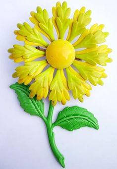 Vintage Yellow Flower Enamel Brooch