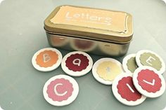 Altoid Tin Crafts (over 15 ideas!) just from the photo, alphabet letters to make words with