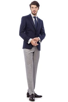 Smart Casual - Navy Blazer & Light Grey Wool Pants