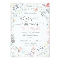 Rustic Fl Baby Shower Invitation Ii Invitations Invites For