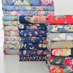 Cath Kidston Canvas Cotton Fabric Shabby Chic Flower by fabricmade