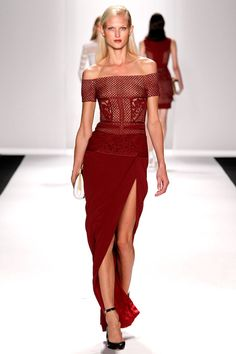 Only on the Red Carpet can you get away with this Sneakily Sexy Cut Up Wine Colored Shoulder Show-er.   J. Mendel Spring 2014 Ready-to-Wear Collection Slideshow on Style.com