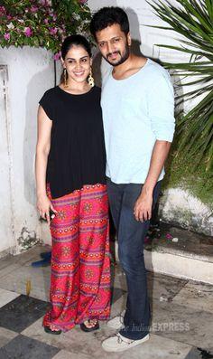 Riteish Deshmukh with Genelia D'Souza Deshmukh at 'Ek Villain' success party.