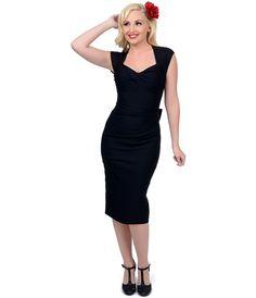 Stop Staring 1940s Black Love Wiggle Dress $158.00 AT vintagedancer.com