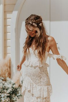 Boho Wedding Dress 2020 Off The Shoulder Floor Length Multilayer Lace Bridal Gowns Boho Wedding Dress With Sleeves, Boho Wedding Hair, Bohemian Wedding Dresses, Wedding Attire, Bohemian Weddings, Whimsical Wedding Hair, Woodland Wedding, Indian Weddings, Romantic Weddings