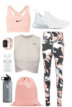 Cute Workout Outfits, Workout Attire, Cute Casual Outfits, Workout Wear, Pink Workout, Womens Workout Outfits, Chic Outfits, Casual Shoes, Teenage Outfits
