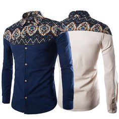2017 Spring Fashion Tribal Floral Traditional African Print Long Sleeve Hemp Linen Shirts Men Plus Size Black Navy Beige African Print Fashion, African Fashion Dresses, African Attire, African Wear, Camisa Floral, African Shirts For Men, Ankara Styles For Men, Spring Fashion 2017, Printed Shirts